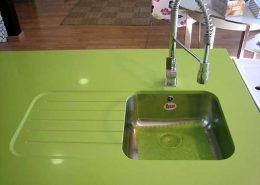 encimera cocina seno bajo verde